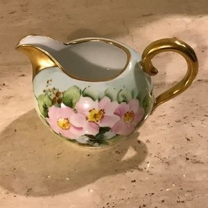 Vintage Creamer Made in Germany Green with Pink